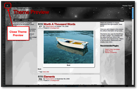 close preview theme Controlling the Look of a WordPress Blog Using Themes