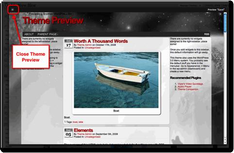 close preview theme wordpress