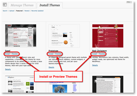 install preview themes choice Controlling the Look of a WordPress Blog Using Themes
