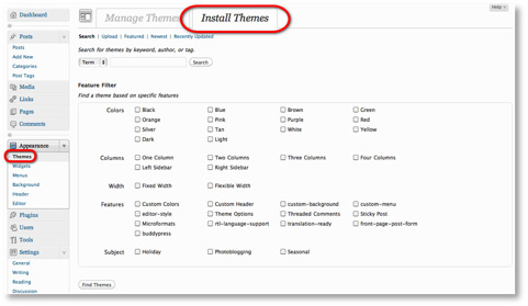 install themes menu Controlling the Look of a WordPress Blog Using Themes