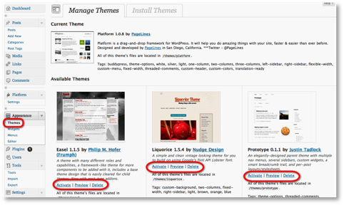 manage themes menu Controlling the Look of a WordPress Blog Using Themes