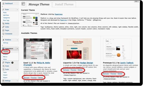 manage themes menu wordpress