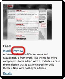 preview theme selection wordpress