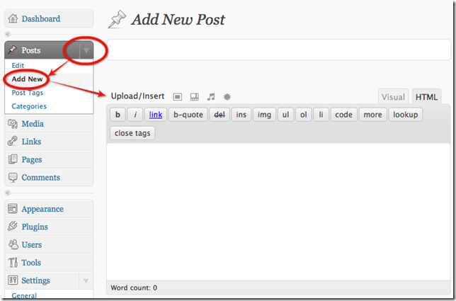 wordpressaddnewpost1 Writing a Blog Aritcle Using the WordPress Web Interface