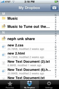 Dropbox iphone application alphabetical browser
