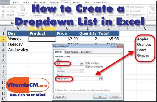 Create a dropdown list in excel tutorial