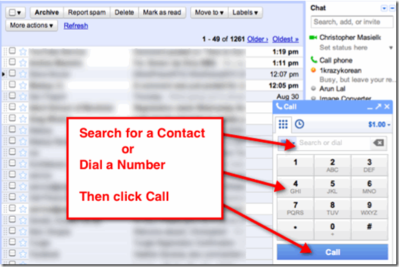 Google Voice Gmail Interface