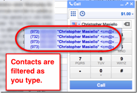 Search Google Contacts from Google Voice