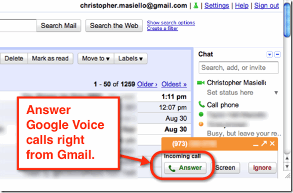 Anser Call from Gmail