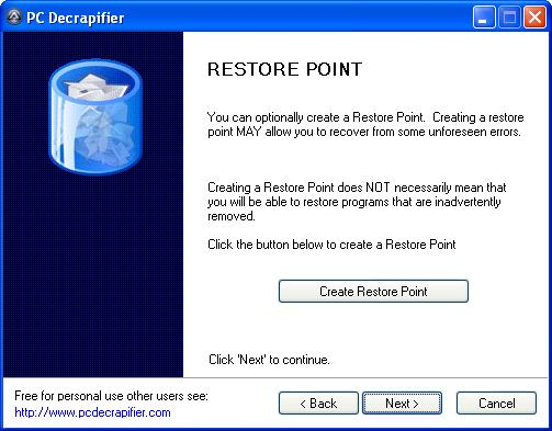 PC Decrapifier create restore point