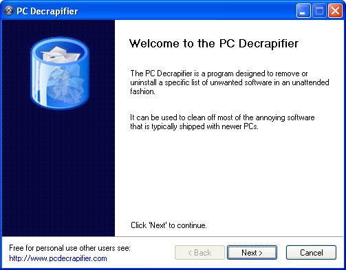 PC Decrapifier Welcom Screen