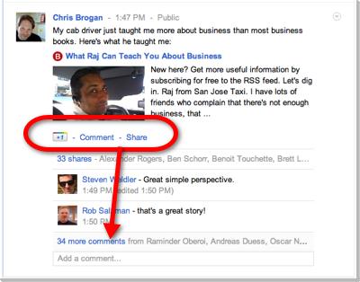 Google pluse comments