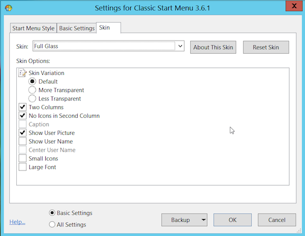 classic shell skin tab1 Fixing Windows 8   How to Add a Start Button