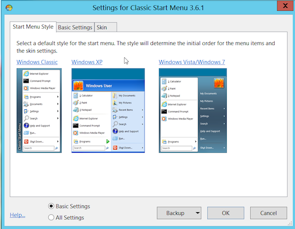 classicshell start menu tab Fixing Windows 8   How to Add a Start Button