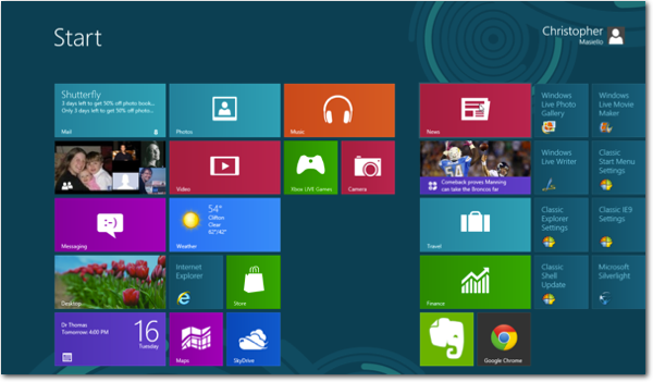 windows 8 metro screen Fixing Windows 8   How to Add a Start Button