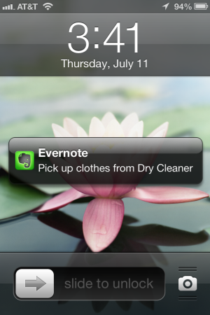 iPhone Evernote Notification