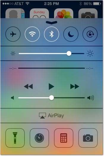 Air Play link in iOS 7 Control Center