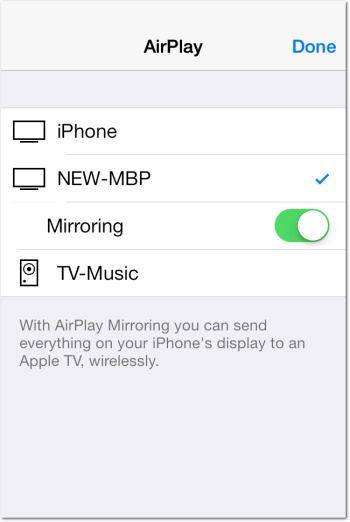 AirPlay Mirroring Enabled from iOS 7 Control Center