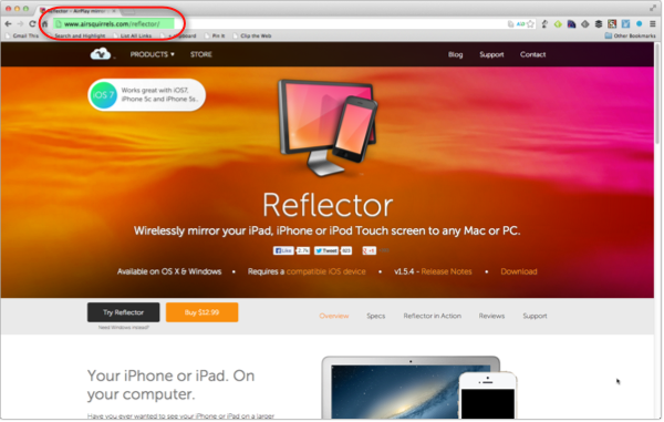 Reflector Website to purchase and download Reflector App